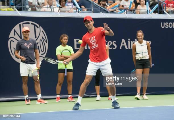 Rafael Nadal, Nicole Hammond, Novak Djokovic and Madison Keys attend the 2018 Arthur Ashe Kids' Day at USTA Billie Jean King National Tennis Center...