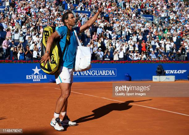 Rafael Nadal of Spain acknowledges the fans after losing during his Men's round of semi-final match against Dominic Thiem of Austria on day six of...