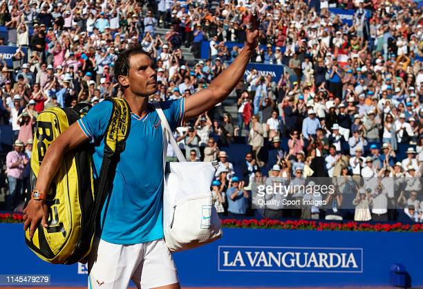 Rafael Nadal of Spain acknowledges the fans after losing during his Men's round of semifinal match against Dominic Thiem of Austria on day six of the...