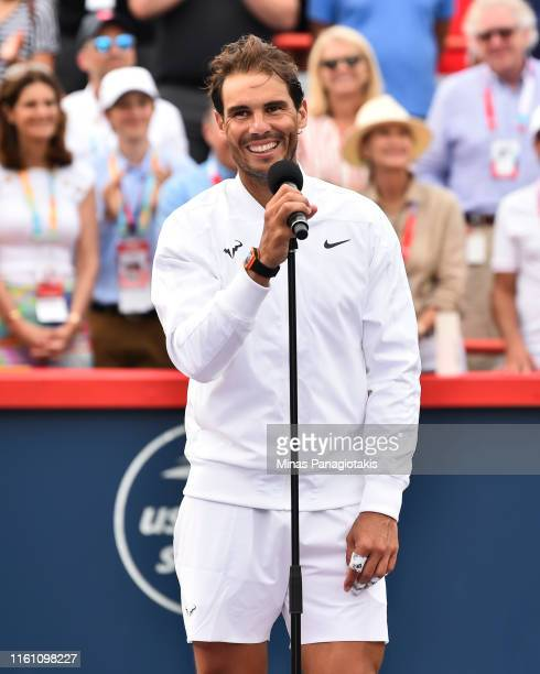 Rafael Nadal of Spain addresses spectators after his win against Daniil Medvedev of Russia during the mens singles final on day 10 of the Rogers Cup...