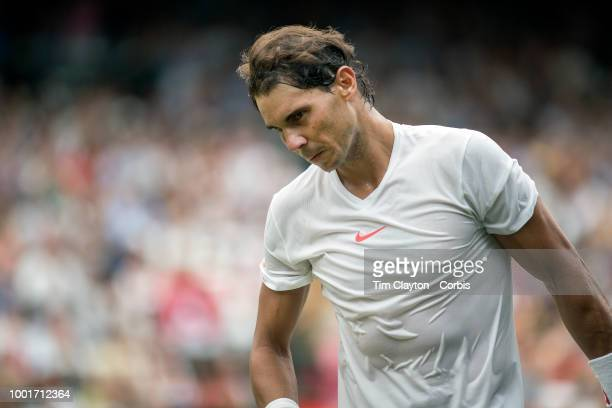 Rafael Nadal of Spain after his loss against Novak Djokovic of Serbia in the Men's Singles Semifinal on Center Court during the Wimbledon Lawn Tennis...