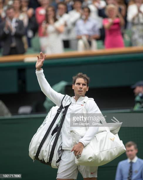 Rafael Nadal of Spain after his loss to Novak Djokovic of Serbia in the Men's Singles Semifinal on Center Court during the Wimbledon Lawn Tennis...