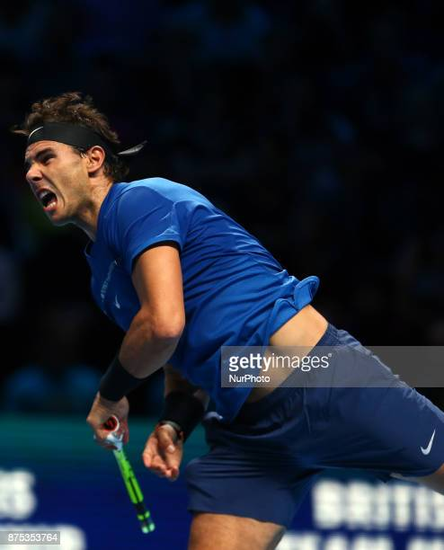 Rafael Nadal of Spain against David Goffin of Belgium during Day Two of the Nitto ATP World Tour Finals played at The O2 Arena London on November 13...