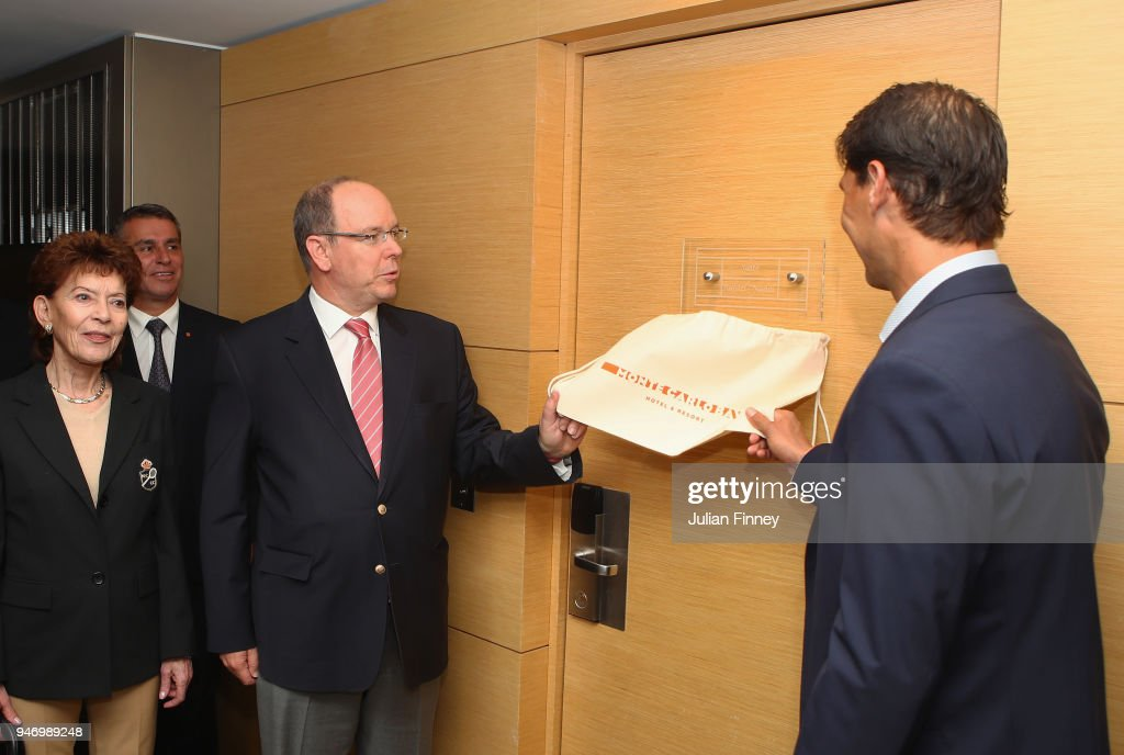 Rafael Nadal (R) of Spain and Albert II, Prince of Monaco unveil the new naming of Nadal's lucky hotel suite 'Suite Rafael Nadal' during Day Two of the ATP Masters Series Monte Carlo Rolex Masters at Monte-Carlo Sporting Club on April 16, 2018 in Monte-Carlo, Monaco.