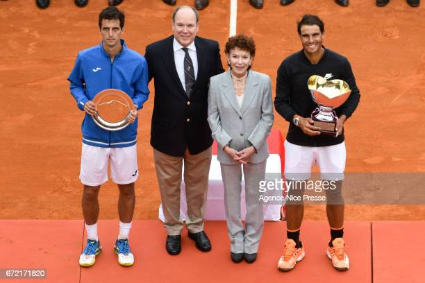 Rafael Nadal of Spain and Albert Prince of Monaco and Elisabeth Anne de Massy President of Monaco tennis federation during the Final of the Monte...