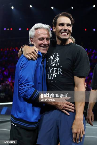 Rafael Nadal of Spain and Bjorn Borg captain celebrate after Alexander Zverev of Team Europe defeating Milos Raonic of Team World during Day Three of...