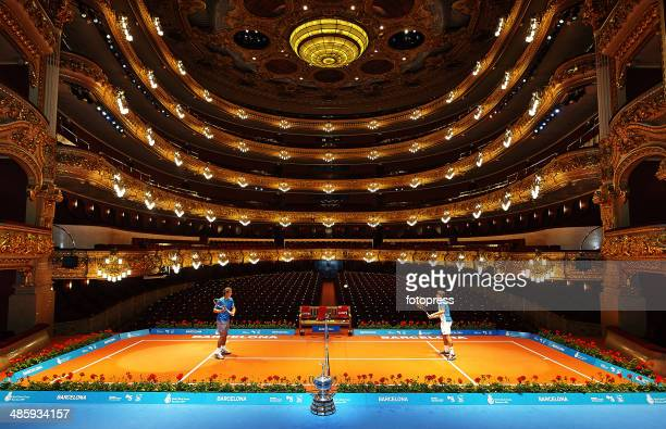Rafael Nadal of Spain and David Ferrer of Spain play inside the Gran Teatre del Liceu in Barcelona during day one of the ATP Barcelona Open Banc...