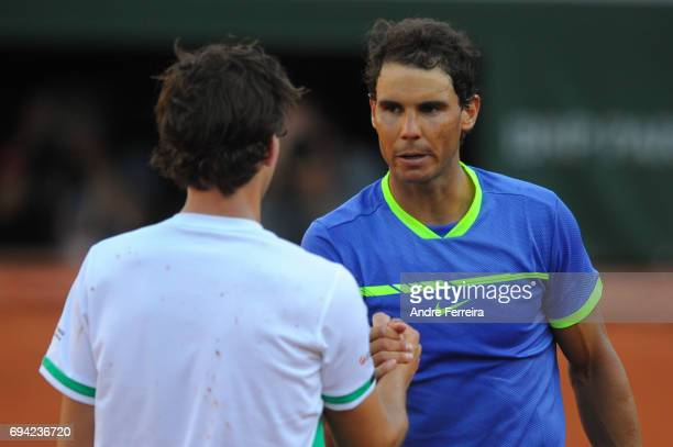 Rafael Nadal of Spain and Dominic Thiem of Austria during the day 13 of the French Open at Roland Garros on June 9 2017 in Paris France