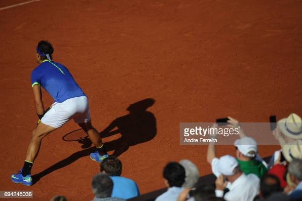 Rafael Nadal of Spain and Fans during the day 13 of the French Open at Roland Garros on June 9 2017 in Paris France