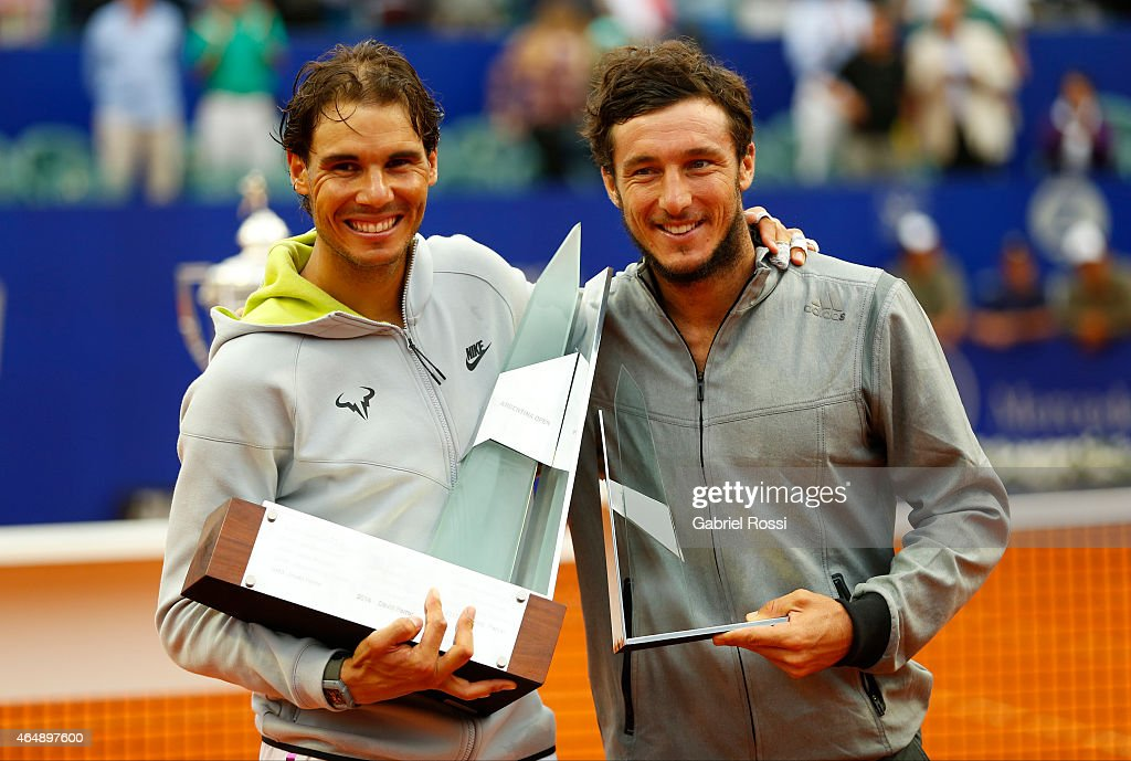 Rafael Nadal of Spain and Juan Monaco of Argentina (R) pose for a photo after the singles final match between Rafael Nadal of Spain and Juan Monaco of Argentina as part of ATP Argentina Open at Buenos Aires Lawn Tennis Club on March 01, 2015 in Buenos Aires, Argentina.