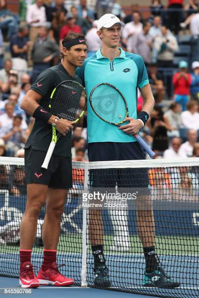 Rafael Nadal of Spain and Kevin Anderson of South Africa pose before their Men's Singles finals match on Day Fourteen of the 2017 US Open at the USTA...