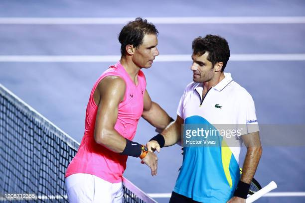 Rafael Nadal of Spain and Pablo Andujar of Spain shake hands after their singles match as part of the ATP Mexican Open 2020 Day 2 at Princess Mundo...