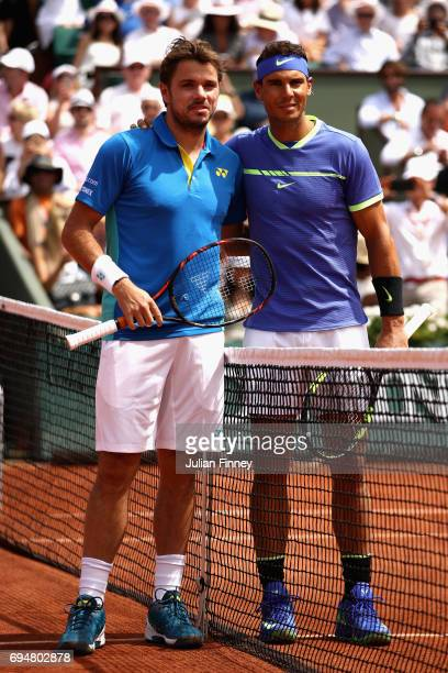 Rafael Nadal of Spain and Stan Wawrinka of Switzerland pose for photos prior to their mens singles final on day fifteen of the 2017 French Open at...