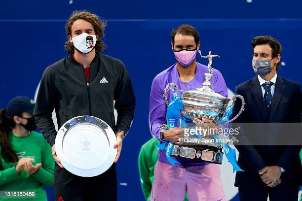Rafael Nadal of Spain and Stefanos Tsitsipas of Greece pose with the trophies after the Men's Singles final match on day seven of the Barcelona Open...