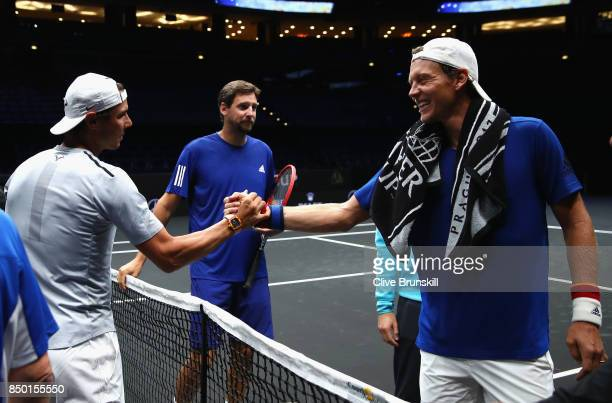 Rafael Nadal of Spain and Tomas Berdych of Czech Republic share a joke during a training session ahead of the Laver Cup on September 20 2017 in...