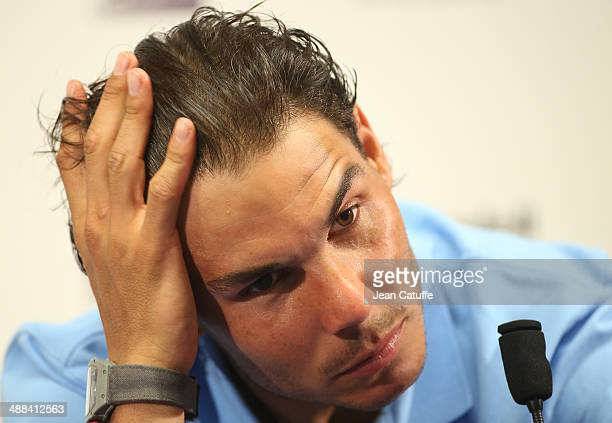 Rafael Nadal of Spain answers to the media after losing against Nicolas Almagro of Spain during the ATP Tour Open Banc Sabadell Barcelona 2014 62nd...