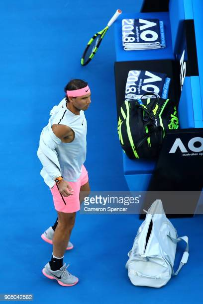Rafael Nadal of Spain arrives on court for his first round match against Victor Estrella Burgos of Dominican Republic on day one of the 2018...
