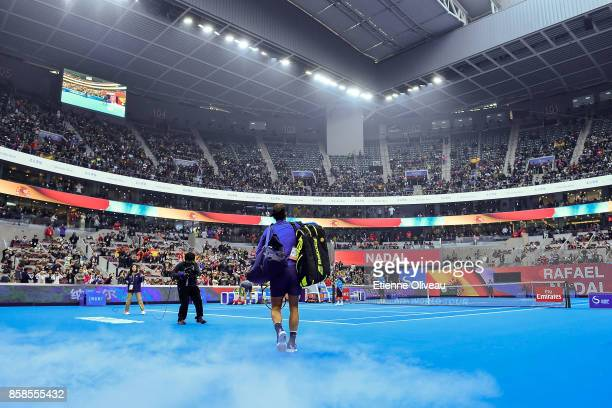 Rafael Nadal of Spain arrives on the court before his MenÕs single semifinal match against Rafael Nadal on day eight of the 2017 China Open at the...