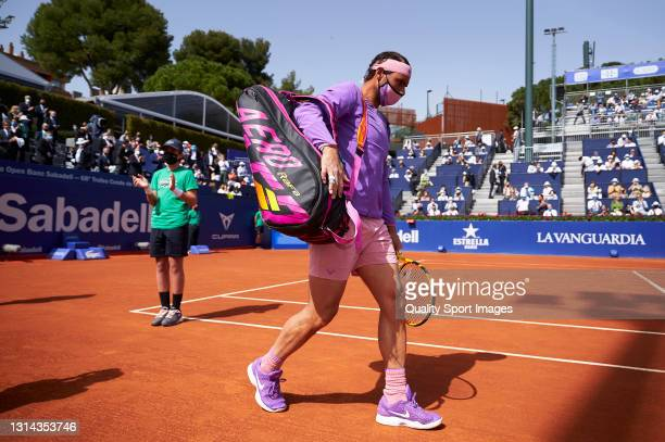 Rafael Nadal of Spain arrives on the court prior to his Men's Singles final match against Stefanos Tsitsipas of Greece on day seven of the Barcelona...