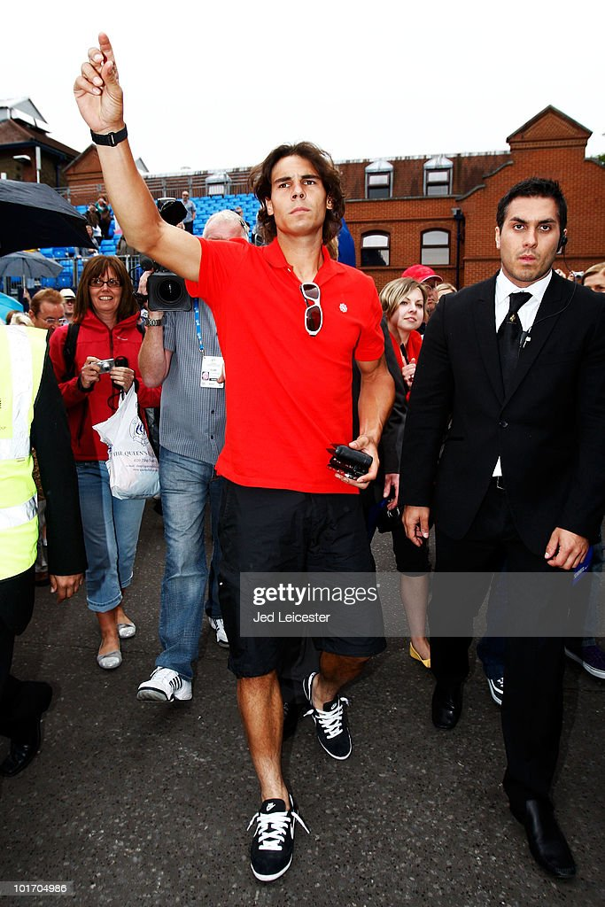 Rafael Nadal of Spain arrives to train on Day 1 of the the AEGON Championships at Queen's Club on June 7, 2010 in London, England.