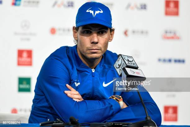 Rafael Nadal of Spain attends a press conference after winning against Lucas Pouille of France during their MenÕs singles first round match on day...