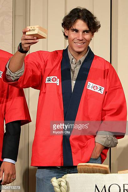 Rafael Nadal of Spain attends a welcome reception on day one of the Rakuten Open tennis tournament at Hotel Grand Pacific Le Daiba on October 4 2010...