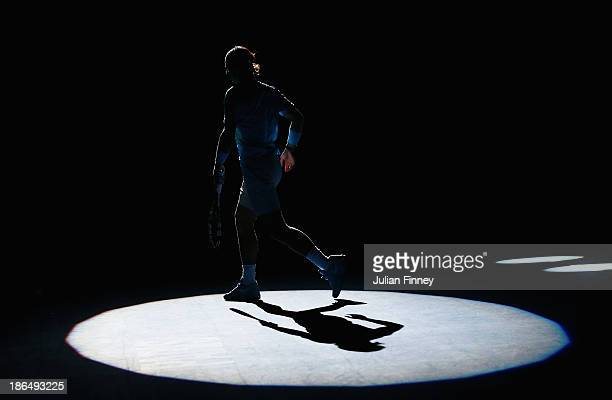 Rafael Nadal of Spain begins his warm up against Jerzy Janowicz of Poland during day four of the BNP Paribas Masters at Palais Omnisports de Bercy on...