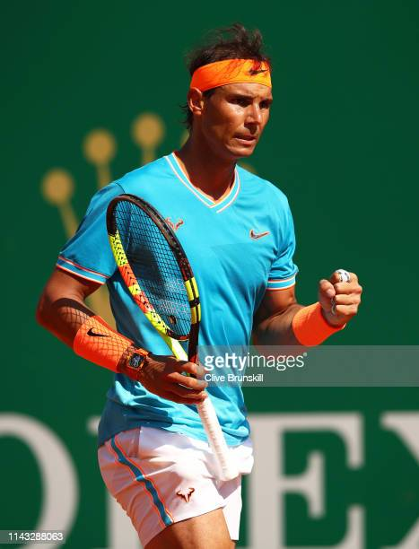 Rafael Nadal of Spain celebrates a point against Roberto Bautista Agut of Spain in their second round match during day four of the Rolex MonteCarlo...