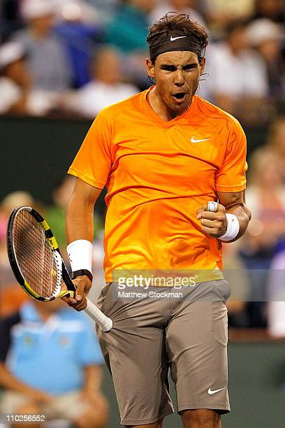 Rafael Nadal of Spain celebrates a point against Somdev Devvarman of India during the BNP Paribas Open at the Indian Wells Tennis Garden on March 16,...