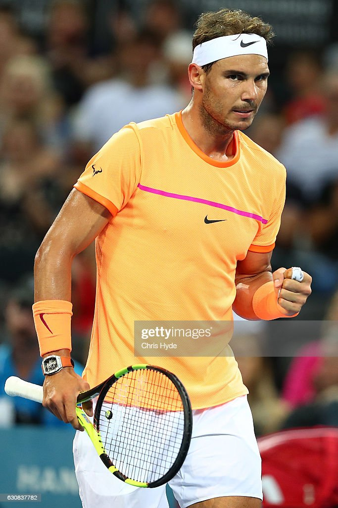 Rafael Nadal of Spain celebrates a point during his match against Alexandr Dolgopolov of Ukraine on day three of the 2017 Brisbane International at Pat Rafter Arena on January 3, 2017 in Brisbane, Australia.