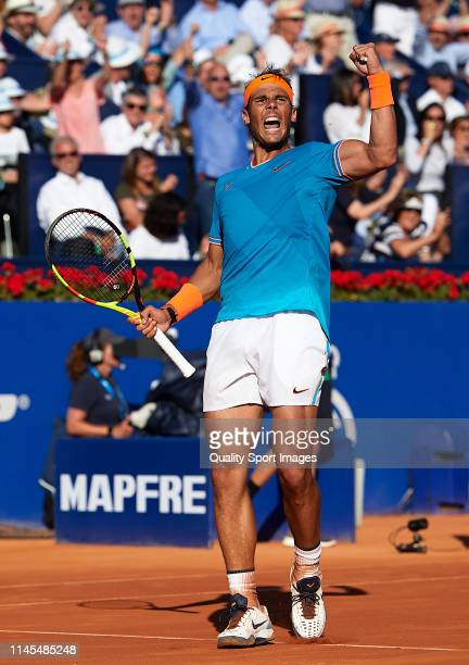 Rafael Nadal of Spain celebrates a point during his Men's round of semi-final match against Dominic Thiem of Austria on day six of the Barcelona Open...