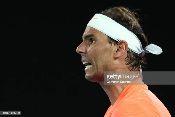 Rafael Nadal of Spain celebrates a point during his Men's Singles Quarterfinals match against Stefanos Tsitsipas of Greece during day 10 of the 2021...