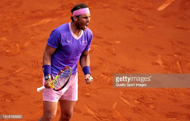 Rafael Nadal of Spain celebrates a point during his Men's Singles final match against Stefanos Tsitsipas of Greece on day seven of the Barcelona Open...