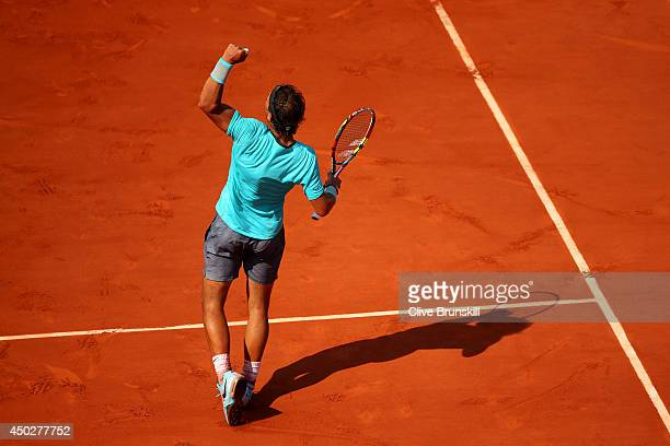 Rafael Nadal of Spain celebrates a point during his men's singles final match against Novak Djokovic of Serbia on day fifteen of the French Open at...