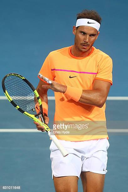 Rafael Nadal of Spain celebrates a point during his quarter final match against Mischa Zverev of Germany during day five of the 2017 Brisbane...