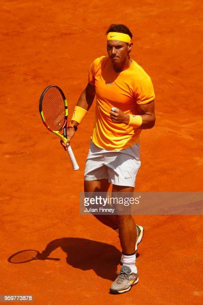 Rafael Nadal of Spain celebrates a point during his Quarter Final match against Fabio Fognini of Italy during day six of The Internazionali BNL...