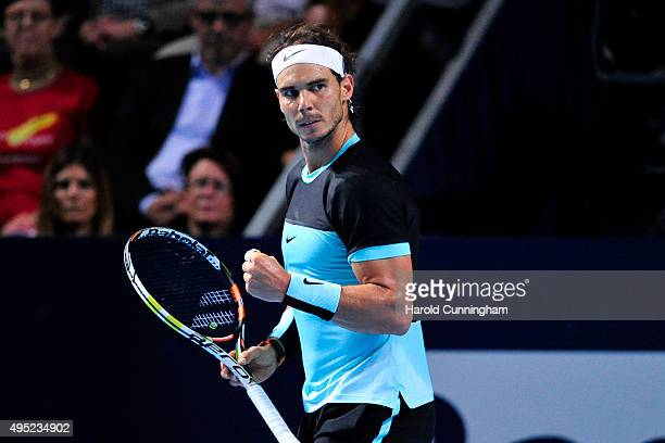 Rafael Nadal of Spain celebrates a point during the final match of the Swiss Indoors ATP 500 tennis tournament against Roger Federer of Switzerland...