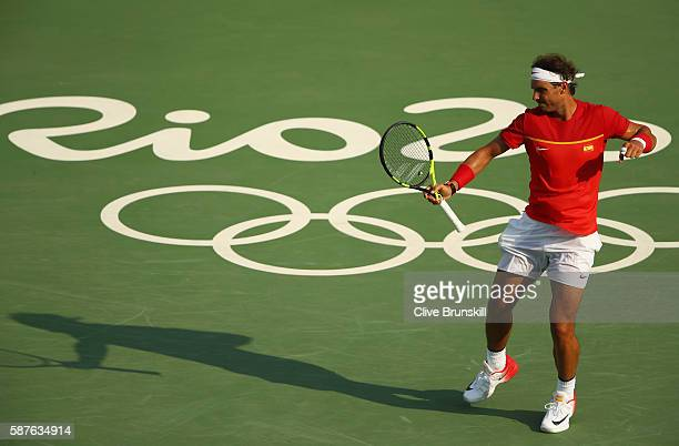 Rafael Nadal of Spain celebrates a point during the men's second round single match against Andreas Seppi of Italy on Day 4 of the Rio 2016 Olympic...