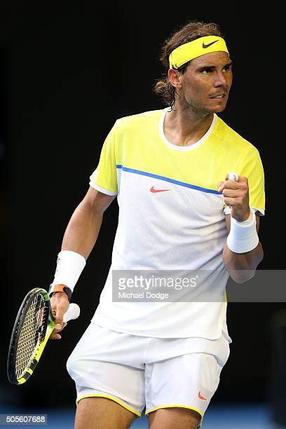 Rafael Nadal of Spain celebrates a point in his first round match against Fernando Verdasco of Spain during day two of the 2016 Australian Open at...