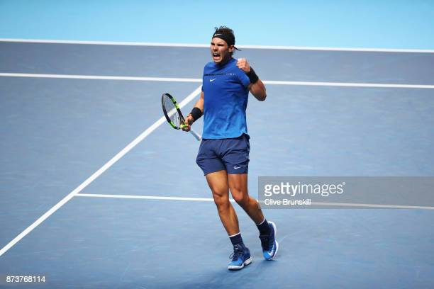 Rafael Nadal of Spain celebrates a point in his Singles match against David Goffin of Belgium during day two of the Nitto ATP World Tour Finals at O2...