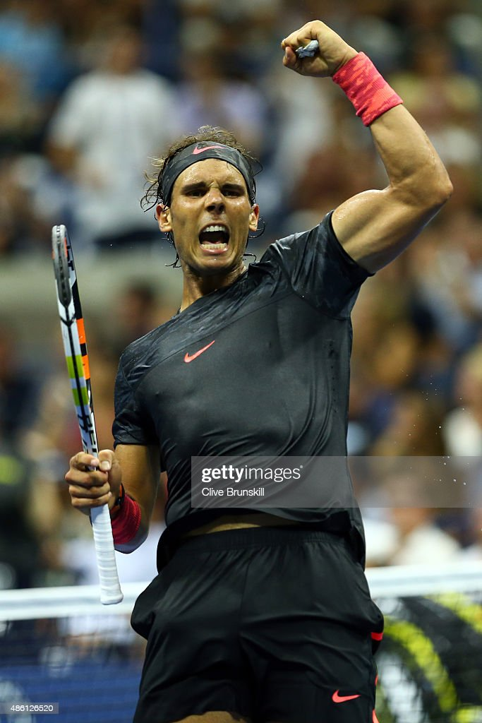 Rafael Nadal of Spain celebrates a point in the fourth set against Borna Coric of Croatia during their Men's Singles First Round match on Day One of the 2015 US Open at the USTA Billie Jean King National Tennis Center on August 31, 2015 in the Flushing neighborhood of the Queens borough of New York City.