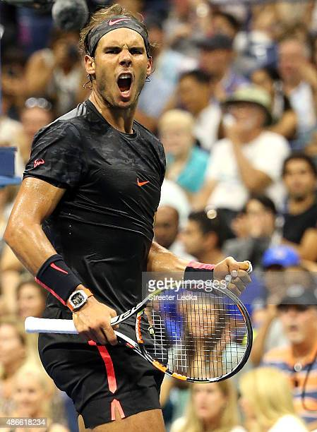 Rafael Nadal of Spain celebrates a point in the second set against Fabio Fognini of Italy on Day Five of the 2015 US Open at the USTA Billie Jean...