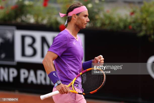 Rafael Nadal of Spain celebrates a point on day 5 of the Internazionali BNL d'Italia match between Rafael Nadal of Spain and Jannik Sinner of Italy...