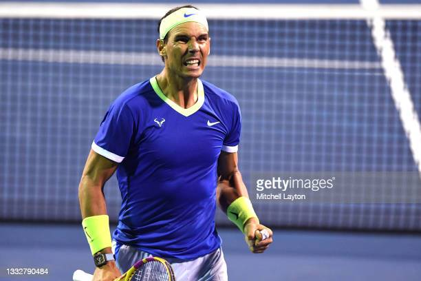 Rafael Nadal of Spain celebrates a shot during a match against Jack Sock of the United States on Day 5 during the Citi Open at Rock Creek Tennis...