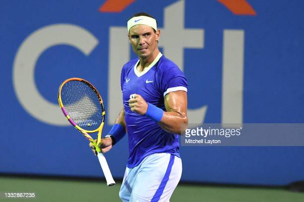 Rafael Nadal of Spain celebrates a shot during a match against Lloyd Harris of South Africa on Day 6 during the Citi Open at Rock Creek Tennis Center...