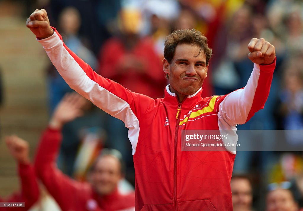 Rafael Nadal of Spain celebrates after day three of the Davis Cup World Group Quarter Final match between Spain and Germany at at Plaza de Toros de Valencia on April 8, 2018 in Valencia, Spain.