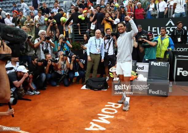 Rafael Nadal of Spain celebrates after defeating Alexander Zverev of Germany in the final during day eight of the Internazionali BNL d'Italia 2018...