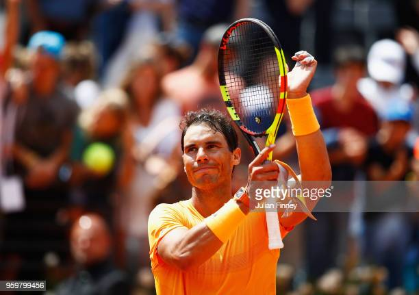 Rafael Nadal of Spain celebrates after defeating Fabio Fognini of Italy his Quarter Final match during day six of The Internazionali BNL d'Italia...
