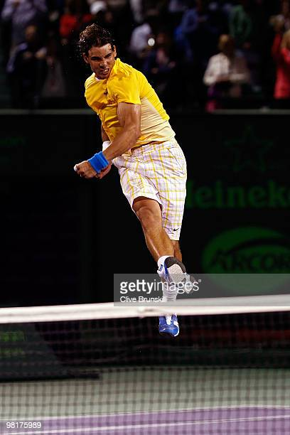 Rafael Nadal of Spain celebrates after defeating Jo-Wilfried Tsonga of France during day nine of the 2010 Sony Ericsson Open at Crandon Park Tennis...