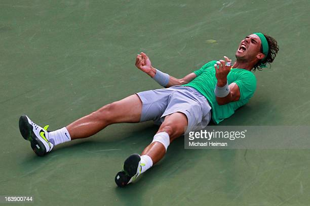 Rafael Nadal of Spain celebrates after defeating Juan Martin Del Potro of Argentina to win the men's final match of the 2013 BNP Paribas Open at the...